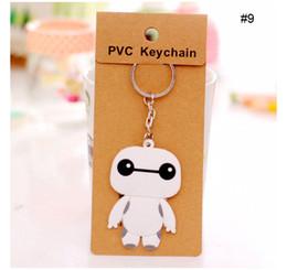 Wholesale Cartoon Keychain Mickey Yellow Man Super Man The Pacifier Owl Kitty Baymax enfants Silicone Key Holder Mode Porte clés
