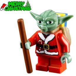 Wholesale XMAS Series Santa Yoda with Backpack Christmas SUPER HEROES STAR WARS Minifigures Building Blocks Kids Xmas Toys Gift