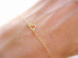 30PCS- B029 Tiny Open Triangle Bracelets Chevron Triangle Outline Bracelet Simple Hollow Line Geometric V Bracelets for Women