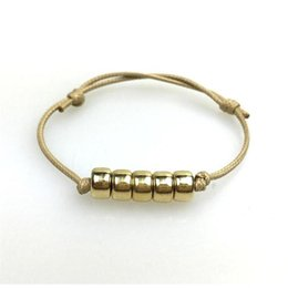 Wholesale Bracelet Ropes Women Top Handmade Goldplated Fashion Metal Beads Bracelet Metal Beads Goldplated Braid Bracelet Handmade jewelry dozen