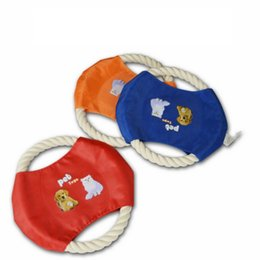 Wholesale-2pcs lot baby pet dog outdoor toy flying disk cotton string soft and safe good gift