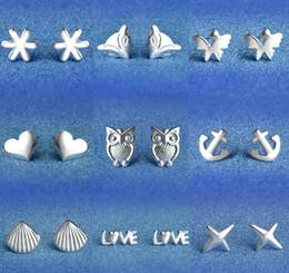 925 Sterling Silver Earrings S925 Mix Styles Owl Love Fox Sunflower Star Shell Heart Butterfly Anchors Ear Stud Earrings Jewelry for Women