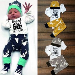 Wholesale 2016 Newborn Baby Boy Girl Deer Tops Romper Long Pants Hat cartoon Outfits Set Clothes