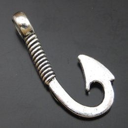 25PCS Antique Silver Alloy Hook Pendant Charms Jewelry Finding 30*14*4 mm 50013 jewelry making