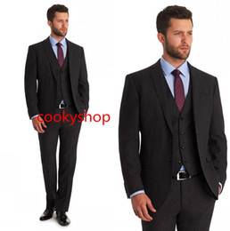 Groom Tuxedos Groomsmen Suits Custom Made Dark Grey Wedding Bridegroom Suit Mens Tuxedo Slim Fit Side Vent (Jacket+Pants+Vest)