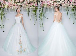 Wholesale 2017 the compromise in the pure romantic charm the new card shoulder wedding dresses applique adornment private custom
