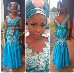 Wholesale Blue Nigerian Lace Styles Dresses Evening Wear Aso Ebi Bella Naija Fashion Prom Dresses v Neck Lace Applique Backless Mermaid Dress