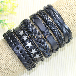 High quality wholesale (6pcs lot) cool retro bangles ethnic tribal genuine adjustable leather bracelet for Men-TE1