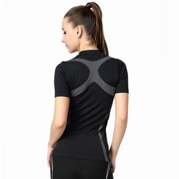 Wholesale-2016 Summer Brand Women Compressed Yoga Sports Shirts Jogger Cycling Clothing Gym Fitness Outdoor Run Quick Dry T Shirt,UB142