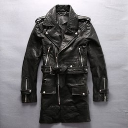 Wholesale 2016 Men Genuine Leather Long Jacket Men Black Turn down Collar Diagonal Zipper Slim Fit Men Real Sheepskin Coat