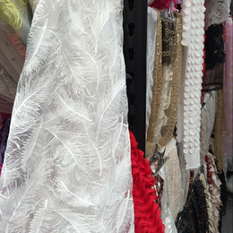Wholesale Free ship Organza feather embroidered fabric for clothing wedding party formal costume table cloth