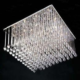 K9 Crystal Chandelier Modern FashioSquare K9 Crystal Chandelier Restaurant Light Hotel Light Living Room Ceiling Lamp Length 80cm*width 80cm