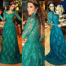 2016 New Arrival Charming Hunter Green Lace Applique High Neck Floor Length Formal Long Sleeves Evening Dresses For Party Muslim Prom Gown