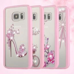 Pour Samsung galaxy S7 plus bord G9350 Combo rose diamant boîte à cristaux cristaux cas de protection Étuis pour téléphone portable à partir de protection téléphone cellulaire fabricateur