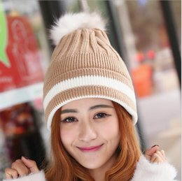 Wholesale 2016 New women s Wool Hat Autumn and Winter warm knitted tide rabbit hair ball head cap