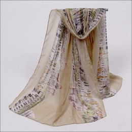 Wholesale new hot sale spring fashion scarf female civilization architectural pattern scarves shawl voile cotton tippet