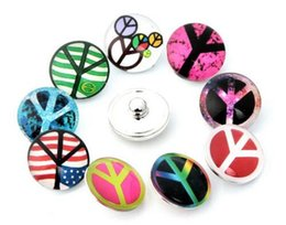 Wholesale 10pcs high quality Peace Sign ginger Watch snaps Round glass snaps Bracelets fit mm snaps buttons diy jewelry