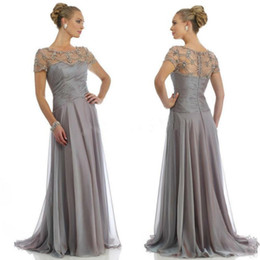 Elegant Grey Chiffon Evening Dresses Cap Sleeve Long Mother Of The Bride Dress With Beading Formal Party Gowns HY1122