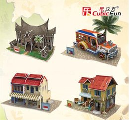 Wholesale Cubic Fun diy D Paper Puzzle Architecture for kids Southeast Asia Style buildings Model gift Children learning educational toys