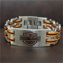 1pc New Arrival Fast Shipment Orange Biker Men Bracelet 316L Stainless Steel Fashion Jewelry Cool Men Biker Style Bracelet