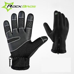 ROCKBROS Winter Cycling Gloves Thermal Windproof Warm Fleece Gloves Man Women Anti-slip Water Resistant Anti-shock Sports Gloves