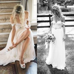 Simple Beach Wedding Dresses Cheap High Quality Bohemian Ruched Chiffon Sweetheart Neck Off the Shoulder Bridal Gowns with Crystal Belt