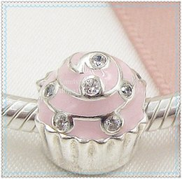 2016 New S925 Sterling Silver Sweet Cupcake Charm Bead with Pink Enamel and Clear Cz Fits European Jewelry Bracelets