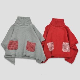 Wholesale Cute Red Winter Coats - 2016 Girl Christmas Cloak Coats Fashion cotton Kids Shawl Cute 12m-5y kids sweater Cloak Cape Girl Clothes 3pcs lot wholesalebegall b