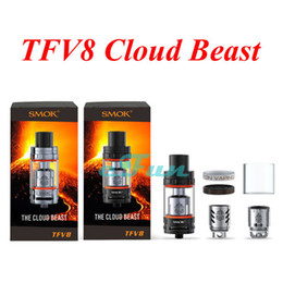 Wholesale Smok TFV8 Cloud Beast Tank AUTHENTIC Atomizer Smoktech ml TFV8 Cloud Beast Tank With V8 T8 V8 Q4 Octuple Coil Head Best Updated TFV4 Tank