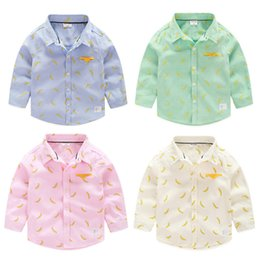 Wholesale Exported brand Fall Boys clothes lovely Banana print long sleeve turn down collar Oxford shirts for boy kindergarten Kids cm