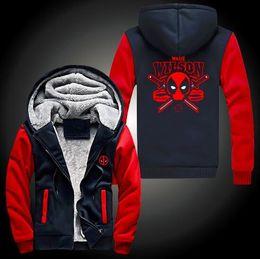Película al rojo vivo en Línea-Nueva Deadpool super caliente espesa la cremallera del paño arriba sudadera con capucha capa de los hombres de algodón de la película de envío gratuito Wade Wilson NUEVO Red Hot Sale