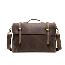 Wholesale Trend New Sell Men s Crazy Horse Genuine Leather Vintage Laptop Briefcase Messenger Shoulder Attache Portfolio Tote Bag T0780
