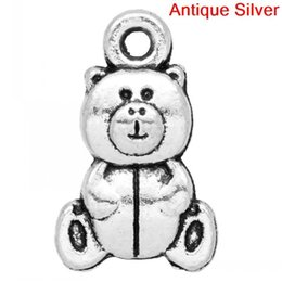 Wholesale 50 Antique Silver Double Face Teddy Bear Charm Pendants x10mm Mr Jewelry