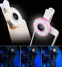 Universal Clip 6 in 1 Cell Phone Camera Lens Kit LED Selfie Fill-in light + Fisheye + Macro + Wide Angle Lens for iPhone Samsung