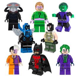 Wholesale 2016 New Avengers Super heros Minifigures Joker Bane Black Manta Beast Villains Blue Beetle building Blocks Baby toys briks PG8018