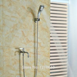 Wholesale Newly Chrome Simple Shower Faucet Bathtub Faucet w Hand Shower One Handle Tub Faucet For Cold Water