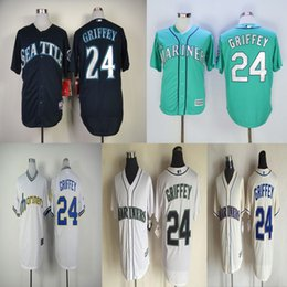 Wholesale 24 Ken Griffey Jr Jersey Seattle Mariners Jerseys Cool Base Jersey Cheap Baseball Sport Jersey Color White Blue Green Cream