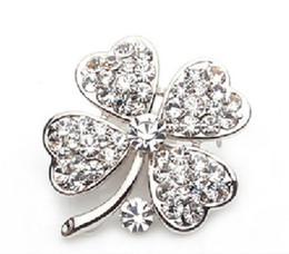 Silver Plated Clear Rhinestone Crystal Clover Leaf Pin Brooch
