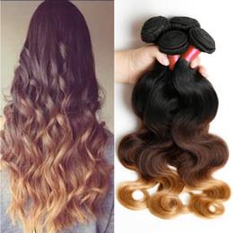 Blonde Weave Bundles Brazilian Ombre Human Hair 1B 4 27 Body Wave Cheap Three Tone Ombre Brazilian Hair Body Wave 3Pcs Lot