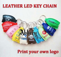 Wholesale 1000pcs LED Keychains Lights Keyrings Free Design Your Logo PU leather keyring keychain For Advertising Promotion Gift DHL Shipping