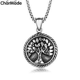 Wholesale Mens Womens Antiqued Silver Stainless Steel Tree Of Life Round Pendant with in link chain Necklace P262
