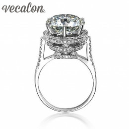 Vecalon 2016 Brand Design Female Crown ring 5ct Simulated diamond Cz 925 Sterling Silver Engagement wedding Band ring for women