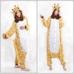 Wholesale Cartoon Giraffe Loose Jumpsuit New Style Polar Fleece Unisex Lovers Animal Autumn Winter Gentle Yellow Paw Shoes As Free Gifts