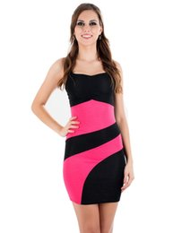 New Popular Sexy Runway Dress High Quality Spaghetti Strap Black and Pink Fashion Slick Bodycon Colorblock Dress K028