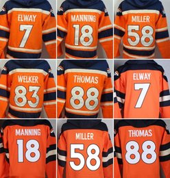 Wholesale Broncos hoodies cheap football jerseys hoody sweatshirts Denver THOMAS MILLER ELWAY WELKER orange freeshipping
