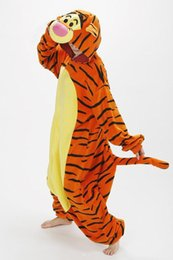 Wholesale New Children Adult Fleece Animal Themed costumes Lovely Tiger Winter Pyjamas Pajamas Sleepsuit sleepwear Onesie