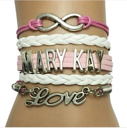 Wholesale Infinity Love Mary Kay Bracelet Custom Handmade Pink with White Velvet Leather Braided Company Team Gifts