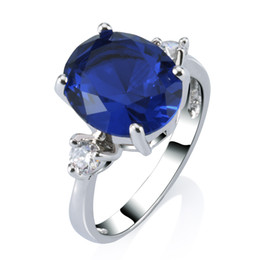 Lover's Gift 18k White Gold Plated Deep Sapphire Ring Women's Party Anniversary Jewelry Colorfast Free Shipping