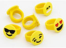 Wholesale Cheap Rubber Kid Toys - Emoji Smile Face Finger Ring Yellow Rubber Jelly Rings Boys Girls Cute Mini Fashion Rings Children Cheap Gift Kids Finger Toys