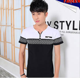 2016 Han edition quality leisure summer new youth men's fashion printing v-neck short short sleeve T-shirt